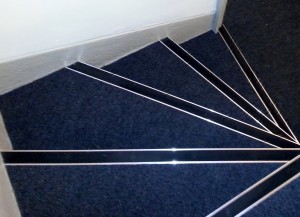 Stair Carpet with Aluminium Nosings = Nottingham contract flooring
